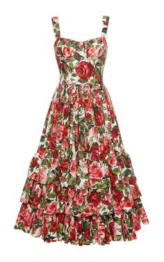 Rose Print Poplin Bustier Dress by DOLCE & GABBANA Now Available on Moda Operandi