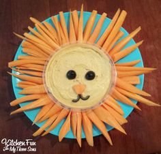 Easy Lion Hummus Snack for Kids from KitchenFunWithMy3Sons.com