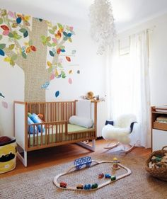 Beautiful-and-Colorful-Tree-Wall-Murals-Stickers-in-Nursery-Baby-Bedroom-Decorating-Designs-Ideas.jpg by francisca Baby Bedroom, Nursery Room, Boy Room, Kids Bedroom, Nursery Decor, Nursery Ideas, Bedroom Ideas, Nursery Curtains, Wall Decor