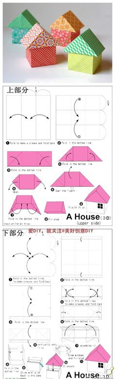 Origami House Folding Instructions by Booly Diy Origami, Gato Origami, Origami And Kirigami, Origami Fish, Origami Folding, Paper Crafts Origami, Paper Folding, Diy Paper, Oragami