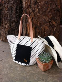 Tote ,mini, black ploka dot ,canvas with leather Strap , dog ,puppy on Etsy, ฿591.05