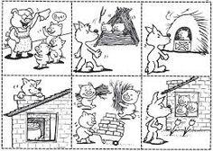 The three little pigs - De drie biggetjes story sequencing Sequencing Cards, Story Sequencing, Sequencing Activities, Book Activities, Three Little Pigs Houses, Three Little Pigs Story, Peppa Pig Coloring Pages, Coloring Pages For Boys, Coloring Sheets