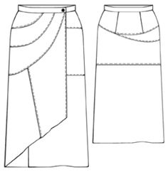 Lots of free patterns // #5341 Asymmetrical wrapped skirt