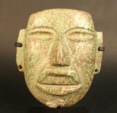 Máscara antropomorfa, área mesoamérica  Materiales: Piedra  Periodo: Formativo Tardío 400 - 1 a.C. Estilo Olmecoide de Guerrero.