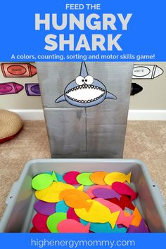 Preschool Ocean Theme- Adorable DIY Feed the Shark motor skills game that teaches colors, sorting, and counting. Plus 9 other FUN ocean theme activities and games that are sure to make big waves! Shark Activities, Preschool Learning Activities, Toddler Activities, Family Activities, Shark Games For Kids, Summer Activities For Preschoolers, Rainbow Fish Activities, Fish Games, Water Games