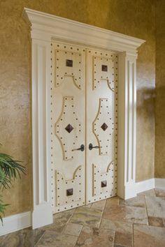 COOL master bedroom doors..Tuscan Villa - mediterranean - bedroom - indianapolis - Karla Shone Designs