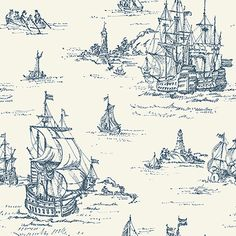 Blue and white Sailboat wallpaper from Ronald Reddings Houndstooth Collection. Pattern #: ML1245 Pattern Name: Clipper