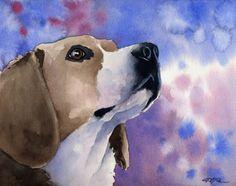 BEAGLE Dog Art Print Signed by Artist DJ Rogers by k9artgallery, $12.50
