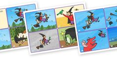 Room on the Broom Story Sequencing Cards 4 per A4 - room on the