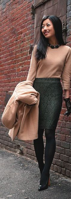 For winter: long sleeve sweater with a trench in the same color/fabric over a print skirt and tights  winter work wear  https://www.pinterest.com/skirttheceiling/