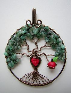 The Giving Tree - Tree of Life Wire Wrapped Pendant Jewelry With Emerald Stones on Etsy, $65.00