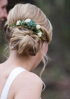 Succulents in hair. Maybe a crown for Becca and pins for bridesmaids!