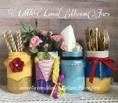 Princess birthday party mason jar set, Repunzel, Belle, Snow White, Cinderella centerpiece