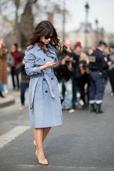 Miroslava Duma // bangs, blue trench coat & nude suede pumps #style #fashion #streetstyle