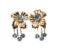 Blue Rhinestone Flower Earrings / Screw Back by ClassiqueStyle