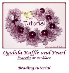 Beading Pattern PDF - Ogalala Ruffle and pearl bracelet or necklace beading pattern scheme tutorial technique instructions oglala
