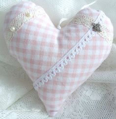Romantic heart cottage style pink white  by GrannyHannasCottage, $14.00