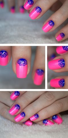 Nails – Pink and blue - Sandra Holmbom...Cute scallops! They would be kinda sorta easy to do with a reeeealy fine tip brush...