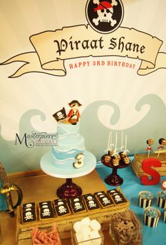 Pirate themed Dessert/sweet table. Styling, sweets and picture by Masterpiece Of Cake.