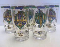 Georges Briard  Fancy Free Hot Air Balloon Mid Century Large Signed Tumbler Glasses - Set of 5