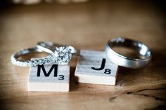 Seattle Wedding from Laurel McConnell Photography + Holly-Kate and Company wedding scrabble pieces decor Wedding Pics, Trendy Wedding, Perfect Wedding, Wedding Engagement, Engagement Rings, Double Wedding, Country Engagement, Wedding Ideas, Wedding Ring Pictures
