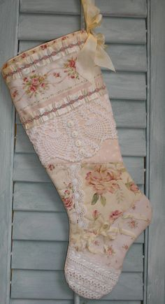 quilted patchwork shabby chic christmas stocking