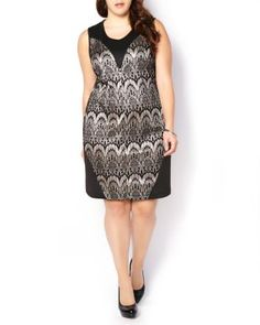 Sleeveless Lace Print Dress | Take your holiday office party by storm thanks to this stunning plus-size dress! Made with a stretchy ponte fabric, it features a lovely lace print at front, scoop neck and above-the-knee length. Finish the look with your favourite heels!