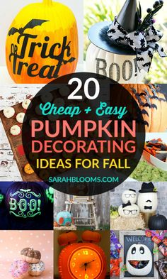 Make these Super Fun and Affordable DIY Pumpkin Decorating Ideas for a fun family activity you can make even if you're not crafty! Diy Halloween Decorations, Christmas Decorations, Holiday Fun, Christmas Diy, Holiday Decor, Easy Crafts, Easy Diy, Creative Pumpkins, Halloween Celebration