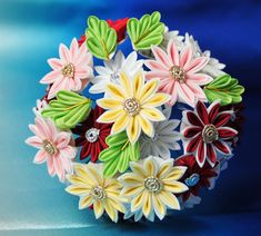 Single-petaled Kiku (Chrysanthemum) Kanzashi for October