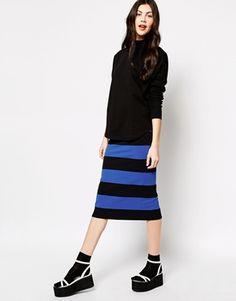 Monki Stripe Tube Skirt