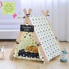 The cutest DIY cat house you didn't know you needed until now SUFEILE Wooden Pet tent Dog house Stripe Foldable Pet House Tent Wood Kennel Puppy love Dog Cat Bed House with Cushion ped Diy Cat Tent, Bunny Room, Bunny Beds, Hamster Toys, Hamster Cages, Dog Toys, Cat House Diy, Diy Hamster House, Indoor Rabbit