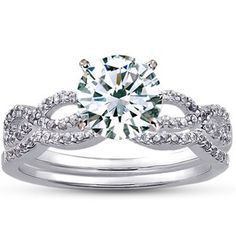 18K White Gold Infinity Diamond Ring Matched Set (1/3 ct. tw.), top view  $2025 *cushion*