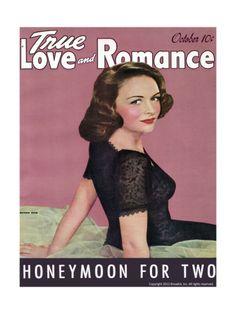 True Love & Romance Vintage Magazine - October 1942 - Donna Reed Giclee Print at Art.com