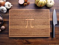 Geekery - Pi Art - Engraved Bamboo Wood Cutting Board, Graduation Gift, Science Student or Teacher Gift, Math Art