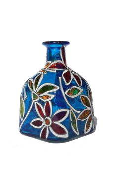 "Cobalt Blue Hand Painted ""Patron"" Bottle with Abstract Flowers, $95."