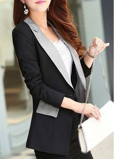 Classic Turndown Collar Long Sleeve Blazer with Button