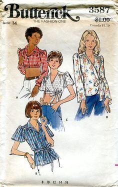 Vintage 1970s Butterick 3587, Size 14, Bust 36, Misses Blouses.
