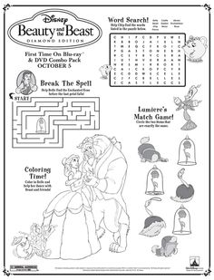 Added to Travel Journal Beauty and the Beast Activity Sheets 1