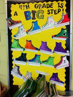 """Fourth grade is a big step for me because... Great classroom door decoration! She used CTP's Poppin' Patterns letters to add the pop of color to """"big."""""""