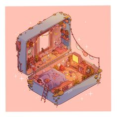 Polly Pocket Slumber: Day, an art print by Brittnie Marcil Aesthetic Pastel Wallpaper, Aesthetic Backgrounds, Aesthetic Wallpapers, Aesthetic Anime, Aesthetic Art, Aesthetic Drawings, Aesthetic Women, Journal Aesthetic, Aesthetic Pictures