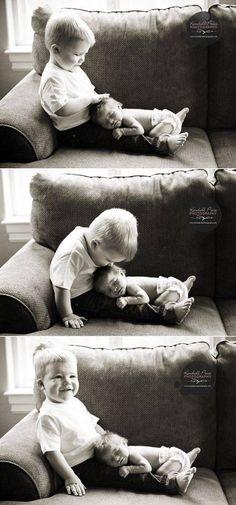 Newborn and sibling photo idea