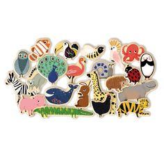 Flotte træmagneter fra Djeco med mange fine motiver af vilde dyr. Med disse magneter er der oplagt mulighed for god underholdning foran køleskabet eller magnett