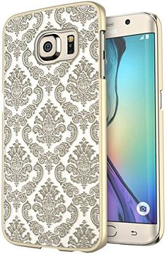 S6 Edge Plus Case Galaxy S6 Edge Plus Case SGM (TM) Damask Design Pattern Rubber Coating Ultra Slim Fit Hard Hybrid Case Cover for Samsung Galaxy S6 Edge Plus  SGM (TM) Microfiber Cleaning Cloth (Gold) #S6EdgePlus