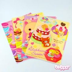Buy Rilakkuma Sweets plastic folder with tabs with Free International Shipping | Blippo.com