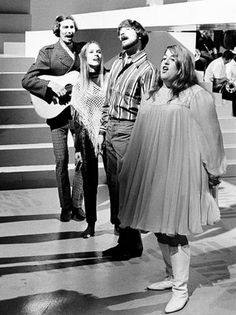 The Mamas and the Papas are seen performing onstage on Aug. 20, 1966, in Los Angeles. From left are: John Phillips, his wife Michelle Phillips, Dennis Doherty and Cass Elliott.