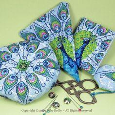 E Peacock Feathers Biscornu Pincushion Needle case  Cross Stitch Chart