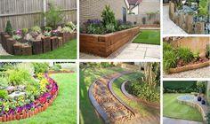 17 Fascinating Wooden Garden Edging Ideas You Must See Garden Planters, Garden Beds, Wooden Garden Borders, Edging Ideas, Border Ideas, Landscape Edging, Pallets Garden, Garden In The Woods, Garden Paths