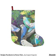 Budgie Parakeets in Ferns Christmas Stocking Large Christmas Stocking