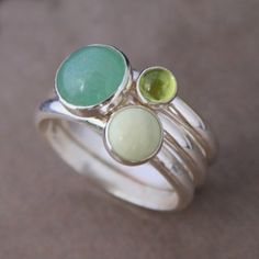 Spring Greens, Stacking Rings, Sterling Silver, Aventurine, Peridot, Lemon Chrysoprase, Gemstones