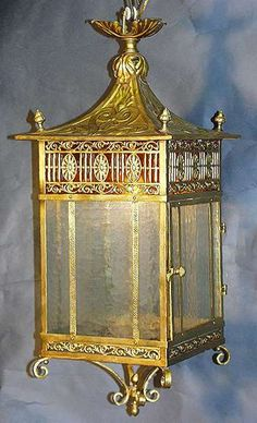 A Fine English Chippendale Brass and Frosted Glass Hanging Lantern. Circa: 1900.